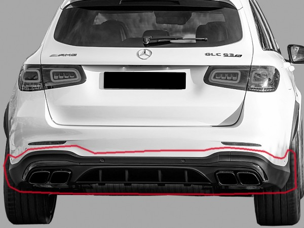 GLC 63 S AMG rear conversion for GLC X253 facelift black without AHK