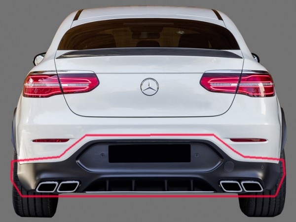 GLC 63 AMG Rear Upgrade for Mercedes GLC Coupe C253 with black Tailpipes and Trailer Hitch