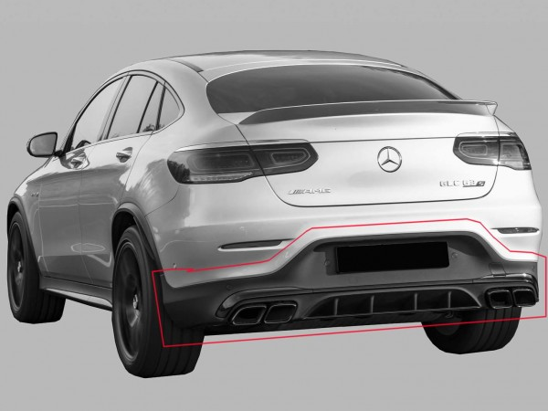 GLC 63 AMG Rear Upgrade for Mercedes GLC Coupe C253 Facelift Chrome without Trailer Hitch
