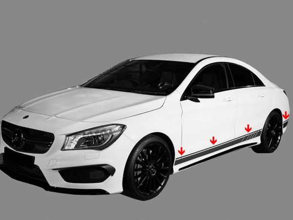 Mercedes CLA W117 - Seitliche Zierstreifen, Folienaufkleber CLA 45 AMG Edition 1