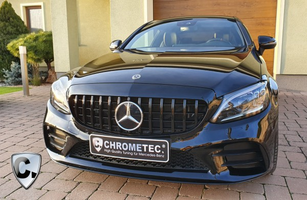 Grille Panamericana Style black for C-Class Limousine and T-Modell Facelift without 360 Degree Camera