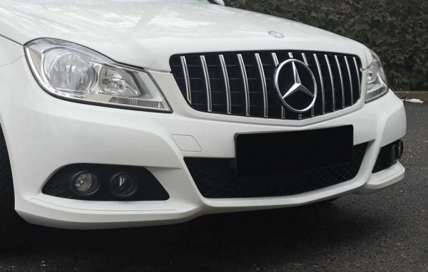 Kühlergrill Panamericana Style silber für Mercedes C-Klasse W204 ohne Stern