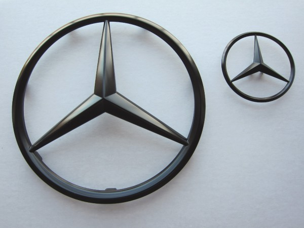 Mercedes Star Black, 2 pcs set for front and rear
