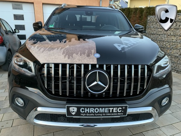 Grille Panamericana Style silver - black high gloss for Mercedes X-Class BR 470