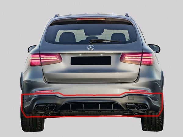 GLC 63 AMG Rear Upgrade for Mercedes GLC X253 with Night Package Tailpipes with Trailor Hitch