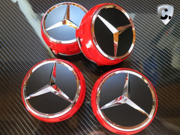 Hub Caps Central Locking Design Red - Mercedes SLK R172
